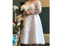 White T-length wedding dress size 16/18