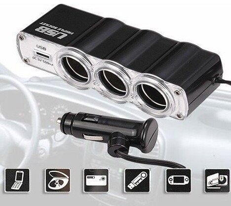 IN CAR TRIPPLE CHARGER SOCKET + USB POINT - BRAND NEW