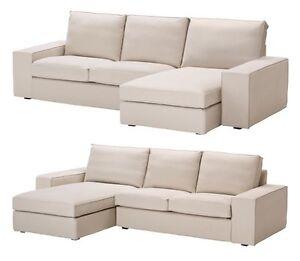 Ikea kivik 2 seat sofa and chaise lounge cover ingebo light beige slipcover new ebay - Ikea chaise lounge cover ...