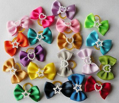 100 dog cat puppy hair bow wholesale lots of headdress flower pets gift #a2 on Rummage