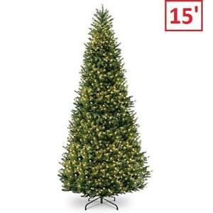 NEW 15' NATURAL CHRISTMAS TREE NAFFSLH1-150LO 212673912 FRASER SLIM FIR W/ CLEAR LIGHTS 3 BOXES