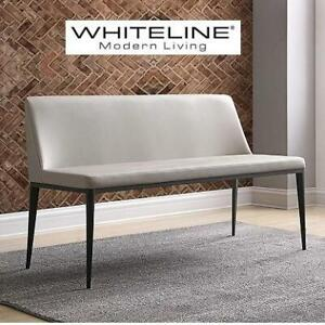 NEW WHITELINE CARRIE BENCH BN1479-LGRY 251060825 GRAY GREY MODERN LIVING SEAT FAUX LEATHER FURNITURE HOME HOUSE
