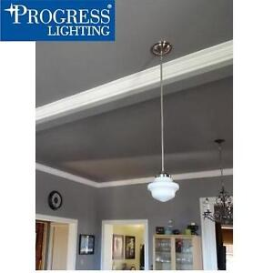 NEW PL 1-LIGHT MINI PENDANT PROGRESS LIGHTING SCHOOLHOUSE COLLECTION - BRUSHED NICKEL 106132784