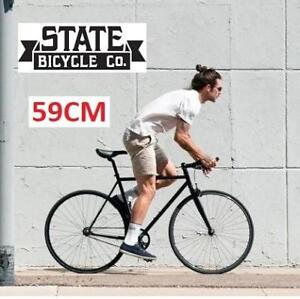 NEW* STATE BICYCLE FIXED GEAR BIKE 4130 191157664 BICYCLE 59CM MEN'S SINGLE SPEED MATTE BLACK