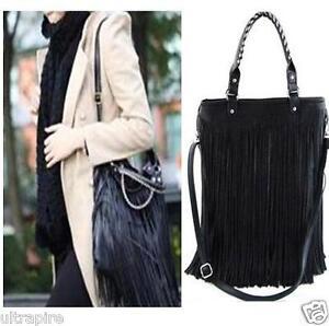 New-Punk-Double-Side-Tassel-Fringe-Lady-PU-Leather-Handbag-Shoulder-Bag-Purse-Z