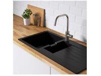 Black Quartz composite kitchen sink for sale. 100cms X 50cms