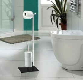NEW STAINLESS STEEL MULTI LOO TOILET ROLL HOLDER AND STORER STAND FREE STANDING