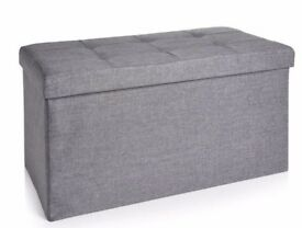 Wilko faux linen ottoman storage bench - like new!
