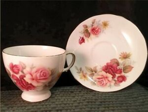 3 Queen Anne Bone China Cup + Saucer Sets, one red, one yellow