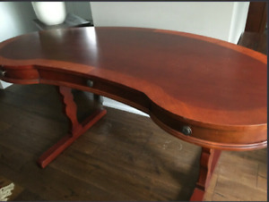 Vintage, Antique Style, Hand crafted Wood Glass Top Desk