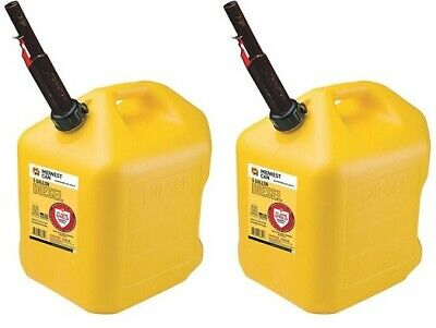2 Midwest 8610 5 Gallon Yellow Poly Diesel Fuel Cans W Flameshield Spout