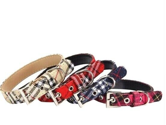 Plaid Dog Collar for Large Dogs Pet Puppies and Kittens Smal
