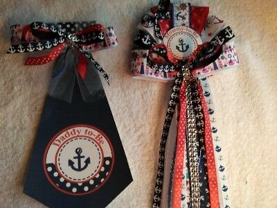 Baby Shower Sailor Theme ( Mommy Corsage  &  Daddy Tie To Be Baby Shower Nautical Sailor Theme)