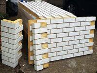 3 BRICK-TILE-PANELS NF101 ISO-GLAZED colour white, each panel 138.5x74.5cm (WxH) 1.03m2