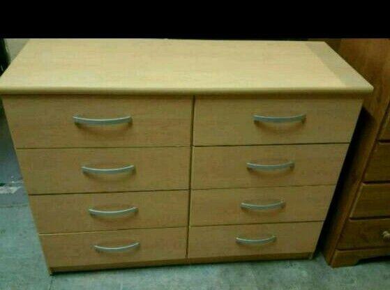 A brand new beech effect finish 4x4 drawer chest.