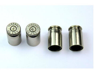 Set of 4 Bullet Valve Tire Caps for Car - SILVER / NICKEL
