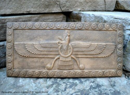 Assyrian Faravahar ahura mazda Persian Persepolis art Sculpture wall plaque reli