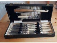 Vintage boxed fish knives and fork set