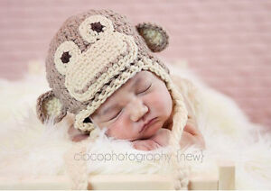 New Baby Boy Girl Crochet Animal Beanie Costume Hat 0-3, 3-6, 6-12M Photo Props