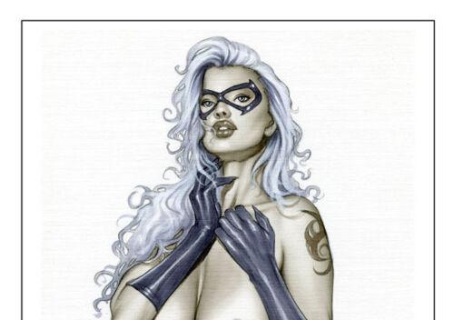 BLACK CAT - Sexy Pin-Up Print by Lady Death Artisit ALEX MIRANDA