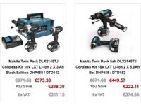 MAKITA TWIN PACK DLX2145TJ 3.0AH OR 5.0AH CORDLESS KIT 18V