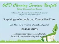 OCD Cleaning Services Norfolk. Offices, Commercial and Domestic Cleaning. Surprisingly Affordable.
