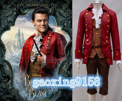 New Movie Beauty and the Beast Gaston Cosplay Costume Halloween Fancy Set AA.19