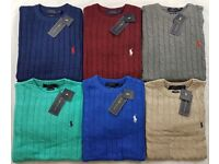 New Mens Polo Ralph Lauren Cable Knit Crew Neck Jumpers S/M/L/XL/XXL