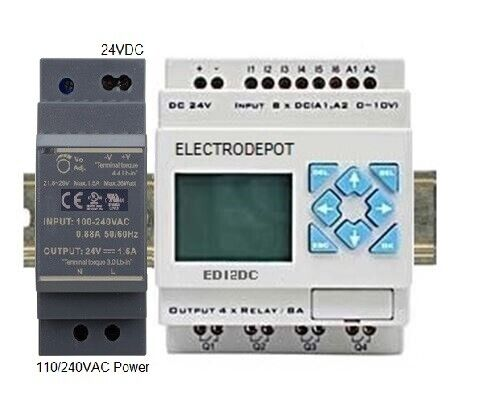PLC Programmable Logic Controller Starter Kit, PC Software 24V DIN Power Supply