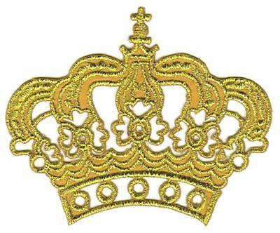 au54 Prinzessin Krone Gold Glitzer Aufnäher Bügelbild Queen Patch 8 x 6,5 cm DIY