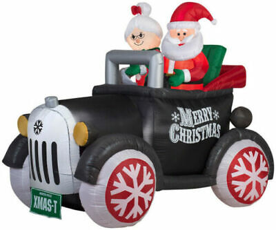 GEMMY MR & MRS CLAUS RIDING IN ANTIQUE MODEL T AIRBLOWN INFLATABLE 5.5 FT