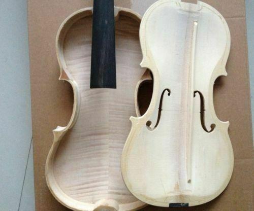 Hand carved unfinished 4/4 Violin( flamed maple back /side /spruce top unglue )