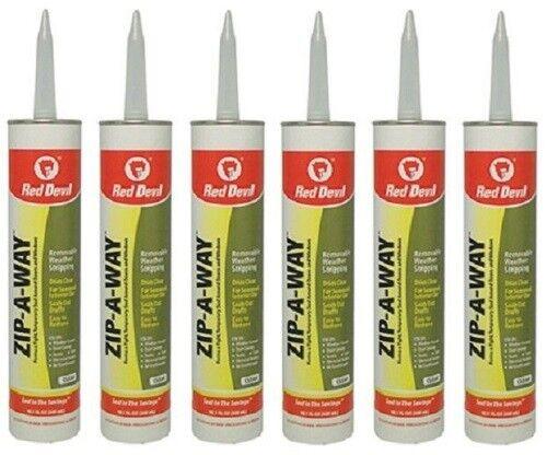 (6) Red Devil 0606 Zip-A-Way 10.1 oz Clear Removable Caulk Caulking Weatherstrip