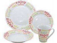 Fine Porcelain 16 Piece Dinner Service Set - Design called 'Citrus Brights'. NEW IN BOX