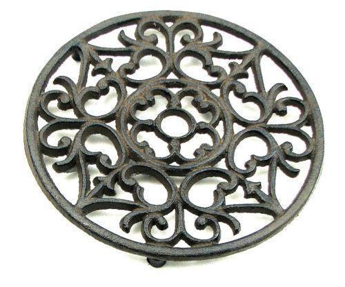 round cast iron trivet ebay. Black Bedroom Furniture Sets. Home Design Ideas