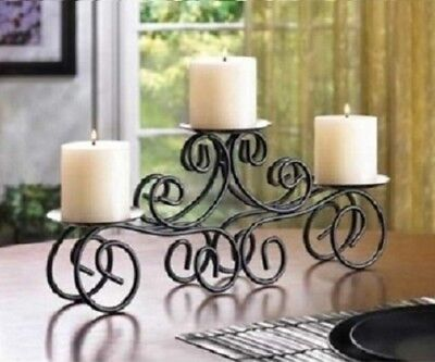 Coffee Table Centerpiece Fireplace Mantle Decor Dining 3arm Candle Holder Black  - Holders Fireplace Decor