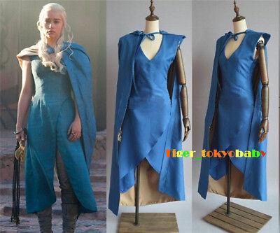 Game of Thrones Daenerys Targaryen Dress Cosplay Costume Women's Cloak Halloween - Game Of Thrones Daenerys Halloween Costumes
