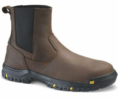 Men Caterpillar Wheelbase Steel Toe Work Boot P91026 Clay Leather 100% Authentic Caterpillar Steel Toe Shoes