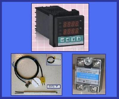 PID Temperature Controller Kiln Thermocouple SSR Relay Electric Oven Jewelry F°C, used for sale  Canada
