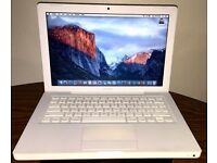 Macbook mid 2009 White Apple laptop 4gb ram Intel 2.13ghz Core 2 duo on EL Capitan 10.11 OS