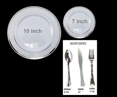 Bulk wedding party disposable plastic plates silverware silver rim gold rim  - Plastic Silver Silverware