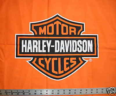 Orange Bar and Shield Logo HARLEY DAVIDSON Quilt Fabric fq fat quarter