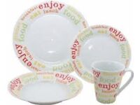 Fine Porcelain 16 Piece Dinner Service Set - Design called 'Citrus Brights'. NEW IN BOX