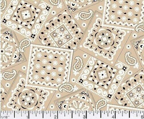 1 Yd Novelty Blazin Bandana Quilt Fabric Bandana Print Khaki