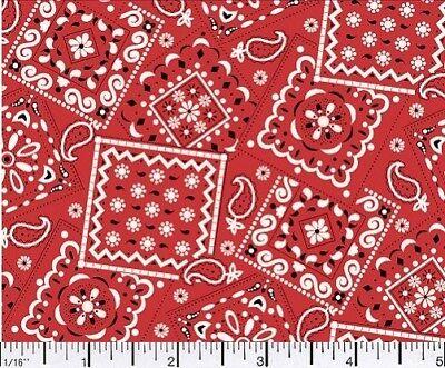 RED - Blazin' Bandana 100% cotton fabric by the yard ()