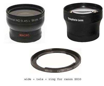 Wide Lens + Tele Lens + Tube Bundle For Canon Powershot Sx410 Is Sx500 Is Sx510