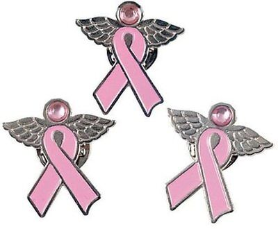 (12) Angel Pins with Wings ~ Pink Ribbon Breast Cancer Awareness Cure Charm Set