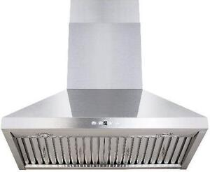https://aniks.ca/ Ava AVO368CS OREGON 36 Wall Mount Range Hood 860 CFM Baffle filters LED lights