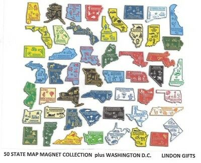COLLECTION  51  U.S. STATE  MAP OUTLINE MAGNETS  MADE IN U.S