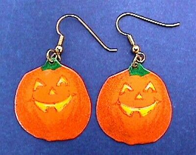 Hallmark EARRINGS Halloween Vintage PUMPKIN TIN JOL DANGLE Holiday Jewelry